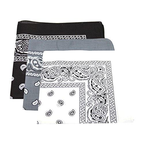 3-x-mens-womens-paisley-pattern-bandana-head-neck-scarf-100-cotton-black-white-grey