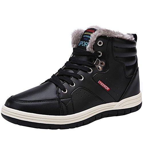 wealsex Basket Montantes Homme PU Cuir Fourré Intérieur Chaud Chaussure Sneakers Hiver Grand Taille 46 47 48