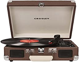 Crosley CR8005A-TW Portable Briefcase Style Three-Speed Portable Vinyl Turntable with Built-In Stereo Speakers - Tweed Grey