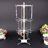 KingSaid 3 Tier Rotating Necklace Holder and 30 Hooks Jewelry Tree Display Stand Organizer for Necklaces, Bracelets, Earrings, Rings
