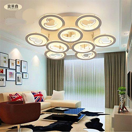Cuore dell'India soffitto detrazione moderno acrilico minimalista LED Ferro casa di moda creativa soggiorno potenza soffitto camera da letto 33-99w interruttore a pulsante , yellow light , 9 head