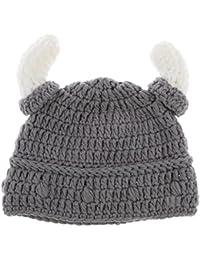 Sharplace Bonnet Viking Enfant Bonnet de Corne Tricot Crochet à la Main  Bonnet Vikings Homme Pack 1718d236a1a