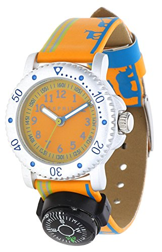 Esprit Jungen-Armbanduhr Savanna Trek Orange Analog Quarz Leder ES108334006