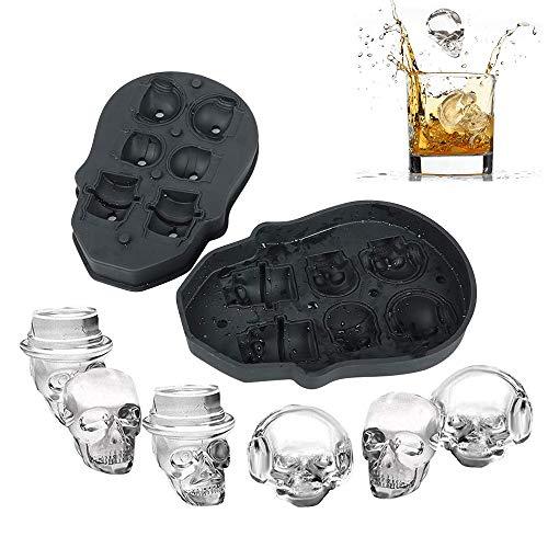 würfelform Silikon 3D Schädel Ice Cube Formen 6 Vivid Schädel Lebensmittelqualität Flexibel Silikon Totenkopf Deko Ice Cube Maker für Whiskey EIS und Cocktails Saft Getränke ()