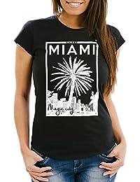 Damen T-Shirt Miami Beach Palmen Skyline Slim Fit Neverless®