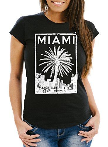 Damen T-Shirt Miami Beach Palmen Skyline Slim Fit Neverless® Schwarz