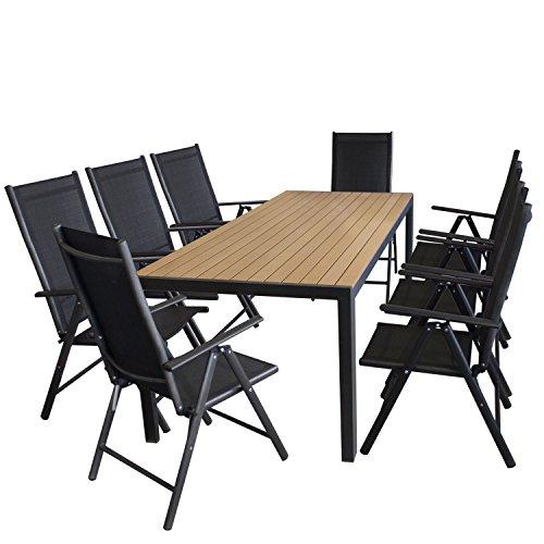 9tlg. Gartengarnitur Aluminium Polywood Gartentisch 205x90cm + 7-Positionen Hochlehner mit 2x2 Textilenbespannung Sitzgruppe Sitzgarnitur Terrassenmöbel Schwarz / Natur