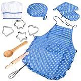 11-teiliges Koch- und Backset für Kinder, Kochset für Kinder, Küche und Spielset mit Schürze für Mädchen, Kochmütze, Kochhandschuh und Utensilien für Kleinkinder, Karriere, Rollenspiele für Kinder
