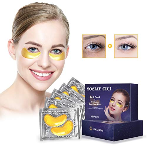 Maschere Trattamento Degli Occhi Oro 24K per Gonfiori Occhiaie e RugheCerotto Sotto il Collagene Occhi Mask Maschera per Occhi con Proteine di Soia