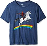 Marvel Mens Deadpool Riding a Unicorn on a Rainbow T-Shirt, Denim Heather, Medium