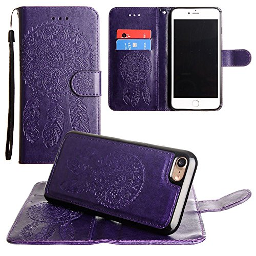 CellularOutfitter Apple iPhone 7 Leather Wallet Case - Embossed Dreamcatcher Design w/ Matching Detachable Case and Wristlet - Purple Purple