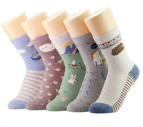 Neuheit Socken Baumwolle Crew Einhorn Eule Katze Bauernhof Prinzessin Meerjungfrau Socken - Cartoon Tier Socken - 5 Pack Weihnachtssocken Geschenkbox (lustige Tiergeschichte)