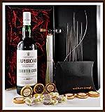 Geschenk Laphroaig Quarter Cask Whisky + Flaschenportionierer + 10 Edel Schokoladen Confiserie DreiMeister & DaJa + 4 Whisky Fudgekostenloser Versand