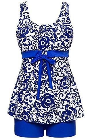 Ecupper Women's Plus Size Boyleg Tankini Floral Swimwear Bathing Suit Swimsuit Swimdress Sapphire Blue