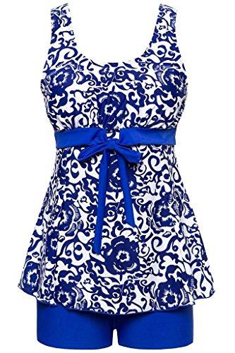 Ecupper Damen Tankini Set Zweiteiler Badeanzug mit Shorts Gepolstert Bademode Top+Shorts Große Größen Blau DE50