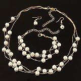 Shukun Halskette Perlenkette Mode Luxus Strass Kurze Schlüsselbein Halskette Ohrstecker Set Damen Kleid, Gold (2 Stück)