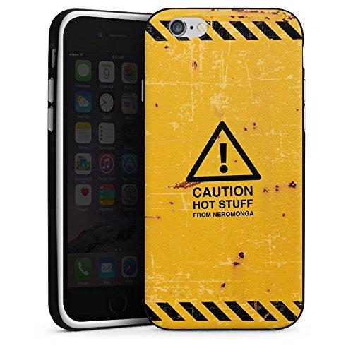 Apple iPhone X Silikon Hülle Case Schutzhülle Warnung Danger Orange Silikon Case schwarz / weiß