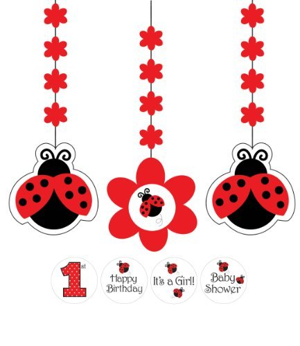 Dot Party Hanging Decorations x 3 - Baby Shower,1st Birthday,Birthday,It's a Girl by Ladybug Party ()