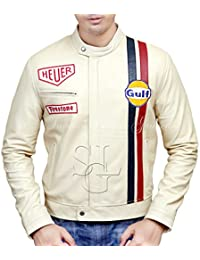 Steve McQueen Le Man Classic Genuine Lamb Skin off-white Leather Jacket
