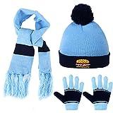 Vbiger Invierno Conjunto de Punto Guantes Punto de la Bufanda y Sombrero para niño niña, 3 pedazos (Azul)