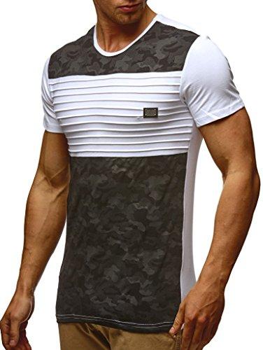 LEIF NELSON Herren T-Shirt Hoodie Longsleeve Kurzarm Shirt Sweatshirt Rundhals Camouflage LN405; Größe M, Weiss