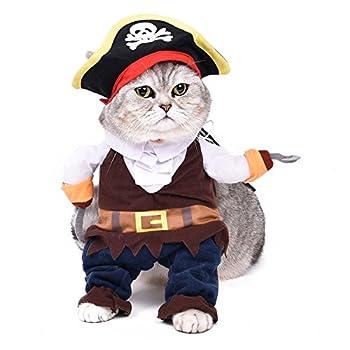 Pawz Road Costume De déguisement pour chiet ou chat trés adorable Costume pour Halloween Costume de pirates Caribbean Pirates fascinant Costume avec chapeau et pèlerine Costume Hallween pour petits moyens grands chien et chats Taille:S