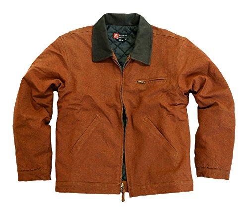 Herren Outdoorjacke Dean Jacket, warm gefüttert mit Lederkragen und Reißverschluss Brick