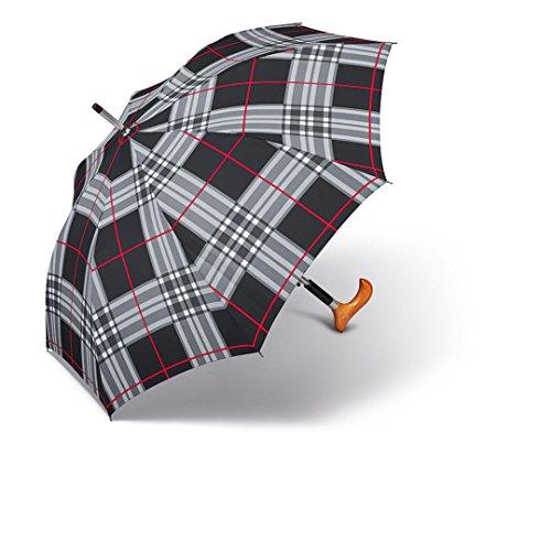happy rain selection Regenschirm Stützschirm Gehstock Gehhilfe Long AC Stütz Fritz Holzgriff checks black / karo schwarz -