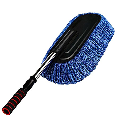 Auto Duster Teleskopischer einziehbarer Handgriff Microfaser Auto Wachs Ziehen entfernbare Auto-Waschbürste Auto-Mop Streifen Staub - blau, 75x12cm