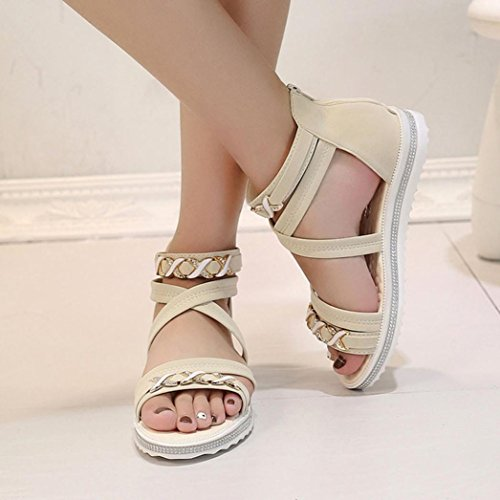 Transer ® Fashion femmes cuir doux loisirs Summer Clip Toe sandales tongs Beige