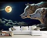 Wapel Dekoration Tapete 3D-Nacht Mond Tier Wolf Hintergrund Wandverkleidung Wandtapete Wohnzimmer Schlafzimmer Seidenstoff 180x130CM