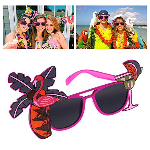 LUOEM Hawaii Luau Party Sonnenbrille Gläser für Strand Luau Party Supply Hawaii unter dem Motto Foto Booth Props Flamingo Kokosbaum dekoriert