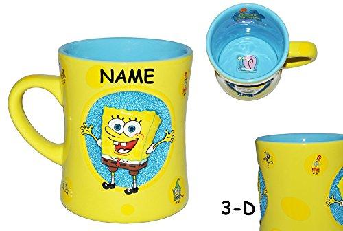 Unbekannt 3-D Relief - Henkeltasse groß - Spongebob - Porzellan / Keramik - incl. Namen - Trinktasse mit Henkel Tasse Becher Porzellantasse Tassen für Kinder Mädchen Jungen Schwammkopf Robert