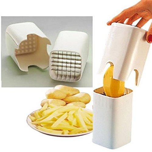 Pommes-Schneider. Handbetriebenes Schneidewerkzeug für Kartoffeln und für Rohkost, gutes Geschenk, Gemüseschäler aus Keramik inklusive