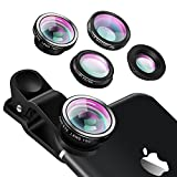 Yarrashop Universal Clip on Phone Lens Objektiv - 4 in 1 iPhone Objektiv mit 180 Grad Fisheye Objektiv + Weitwinkel Objektiv + 10X Makro Objektiv + CPL Objektiv für iPhone 7 / 7 Plus iPhone 6 / 6S iphone 5 / 5S / 5C Samsung S6 S7 HTC Xiaomi Sony Smartphones (Silber)