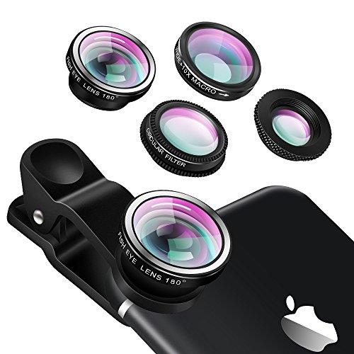 Universal Clip on Phone Lens Objektiv - Yarrashop 4 in 1 iPhone Objektiv mit 180 Grad Fisheye Objektiv + Weitwinkel Objektiv + 10X Makro Objektiv + CPL Objektiv für iPhone 7 / 7 Plus iPhone 6 / 6S iphone 5 / 5S / 5C Samsung S6 S7 HTC Xiaomi Sony Smartphones (Silber)