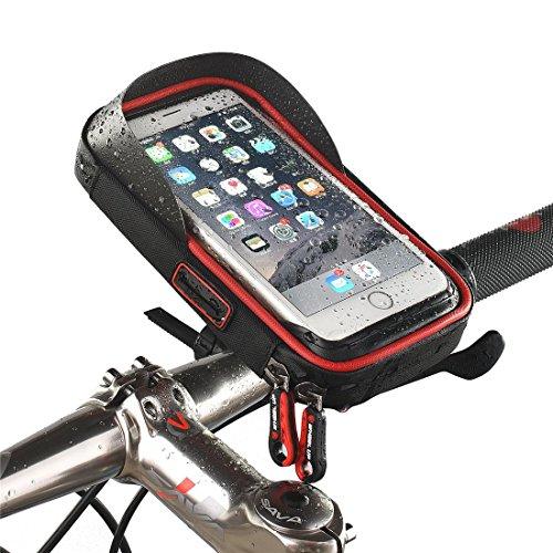 Wasserdichte Touchscreen Fahrrad Lenkertaschen Fahrradtasche Handy-Halterung Tasche Front Phone Frame Bag Halter Für Mobiltelefon unter 7,5 Zoll mit Sonnenblende , red