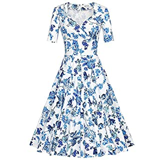 MUXXN Women's 1960's Vintage Short Sleeve V-Neck Cocktail Rockabilly Swing Party Dress(S,Big Qing Bright Blue)