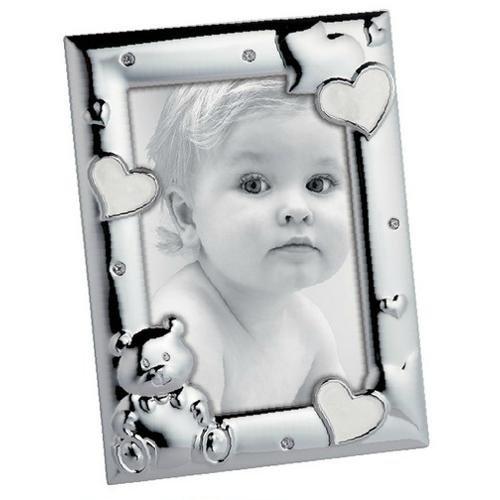 Mascagni Bilderrahmen Einjähriges Kind mit Emaille und Kristallen, Metall, Silber, 19,6x 14,6x 1,5cm