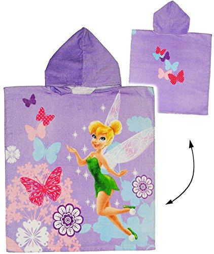 Fairies / Fairy - 60 cm * 120 cm - 4 bis 8 Jahre Poncho - mit Kapuze - Handtuch Strandtuch Baumwolle - Tinkerbell Schmetterling Blumen - Mädchen für Kinder Badehandtuch - Badetuch Frottee (Tinkerbell Wie Ein Baby)