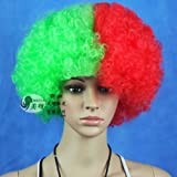 Portugal Pays de Football Supporter fans Fournitures perruque afro Costume de déguisement Cosplay