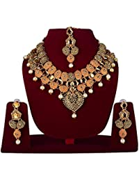 FULLY Gold Plated Pearls Choker Necklace With Drop Earring & Mangtika Jewellery Set For Women ?