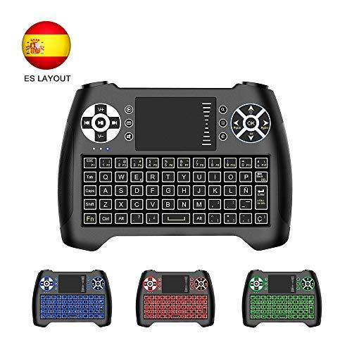 Horsky Español Mini Teclado Inalámbrico 2.4GHz Touchpad Keyboard Botones 76 Teclado led con Ratón para Smart TV, PC, Android TV Box, HTPC, IPTV, XBOX, XBOX360, PS3, FOX Retroiluminado Azul