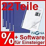 6 zweiteilige Bewerbungsmappen in BLAU + 6 DIN C4 Versandtaschen + 6 Adressetiketten + Software + Extras = Premium-Set Bewerbung