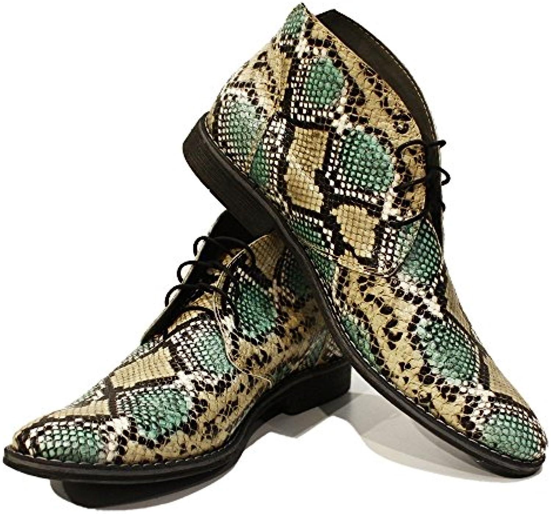 PeppeShoes Modello Flekko   Handgemachtes Italienisch Leder Herren Grün Stiefeletten Chukka Stiefel   Ziegenleder