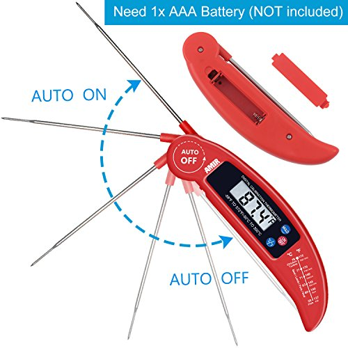 Amir Food Thermometer, Digital Instant Read Candy/ Meat Thermometer with Probe for Easter, Kitchen Cooking, BBQ, Poultry, Grill, Foldable, Fast & Auto On/ Off, Battery Not Included