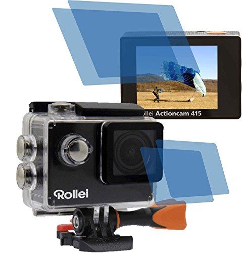 4x Crystal clear klar Schutzfolie (2 Folien pro Display) für Rollei Action Cam Actioncam 415 / 425 Premium Displayschutzfolie Bildschirmschutzfolie Schutzhülle Displayschutz Displayfolie Folie (Wlan-camcorder-mikrofon)