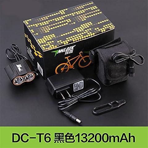 Fahrrad Licht Scheinwerfer Mountainbike Nacht Reitausrüstung Blendung Fahrradzubehör,DC-T6 schwarz 13200mAh