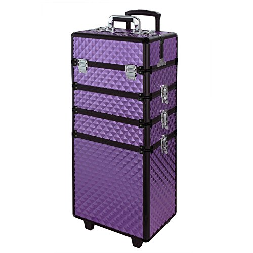 WarmieHomy Maquillage Trolley 4-in-1 Aluminium boîte à maquillage Professionnel Beauty Case Portable Voyage Organisateur Boîte Roulant Violet