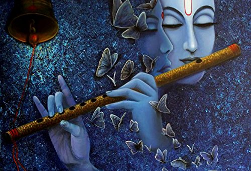 Lord Radhe Krishna Playing Flute Blue Painting poster Print Poster on 13x19 Inches  available at amazon for Rs.183